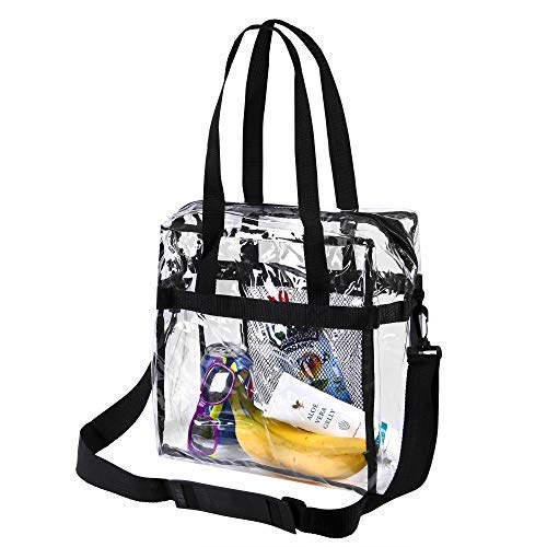 Bags for Less Clear Tote Stadium Approved with Adjustable Shoulder Straps and Mesh Pockets ()