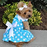 Blue Polka Dot Dress w/Leach & D-Ring (Medium) For Sale