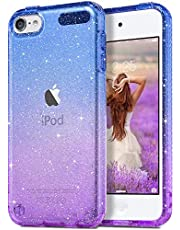 ULAK Clear Gradient iPod Touch 7 Case, iPod Touch 6 Case, iPod Touch 5 Case for Girls, Glitter Bling Sparkle Clear Protective Cover for Apple iPod Touch 7th/ 6th/ 5th Gen, Purple