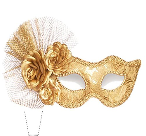 Novelty Masquerade Mask Gold 12 Edible Stand up wafer paper cake toppers (5 - 10 BUSINESS DAYS DELIVERY FROM -
