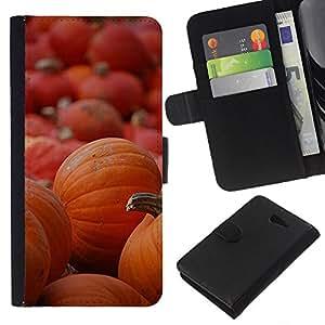 KLONGSHOP // Tirón de la caja Cartera de cuero con ranuras para tarjetas - De Halloween Naranja Otoño de vacaciones - Sony Xperia M2 //