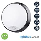 LightHub 10W LED Outdoor Round Circular Wall Mounted PIR Motion Sensor Bulkhead Light Fixture with Black Trim - Perfect for Garden, Shed, Porch, Garage, Workshop, Patio e