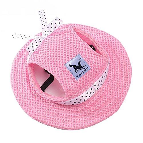 HongGun Net Pet Hats,Dog Hat Pet Baseball Cap Sun Hat/Dogs Sport Hat/Visor Cap with Ear Holes for Small Dogs Puppy Cats (S, Princess Pink)