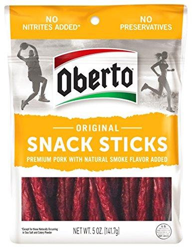 Oberto Original Premium Pork Snack Sticks, 5-Ounce Bag, 6 Count
