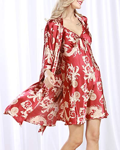 da Camicia da Stile Estiva DaiHan C Pezzi Notte Camicia Raso raso Camicia in Vestaglia Notte in Seta,Semplice a Kimono notte Pigiama donna,Donna 2 da Scollo da V x8n0XSq8