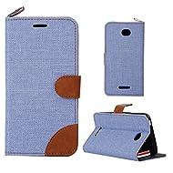 Coque pour Sony Xperia E4 (E2104/ E2105),Housse en cuir pour Sony Xperia E4 (E2104/ E2105),Ecoway Motif de coutures de couleur Denim étui en cuir Cuir Flip Magnétique Portefeuille Etui Housse de Protection Coque Étui Case Cover avec Stand Support Avec des Cartes de Crédit Slot et Fonction Support pour Sony Xperia E4 (E2104/ E2105) – Ciel bleu / Brown