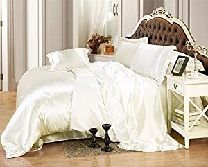 Relaxico Bedding Ultra Soft Luxurious Satin 5-Peice Duvet Cover Set Super Silky Vibrant with comes in many colors like Ivory Twin/Twin XL