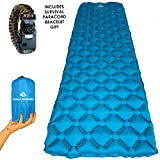#8: World Wonders Camping Sleeping Pad - Ultralight, Inflatable - Portable for Backpacking, Hiking, and Travel - Universal, Comfortable and Durable - Included with Survival Kit Emergency Paracord Bracelet