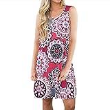 KYLEON Women Dresses Summer Boho Floral Printed Dress Swing Beach Vintage Short Mini Dress Tank Casual Pockets Sundress Red