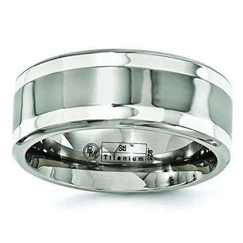 Titanium and Sterling Silver Inlay 9mm Wedding Band Size 8 by Diamond2Deal