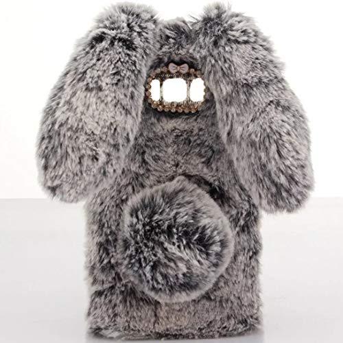 (Case for Galaxy S10 Plus,Luxury Winter Warm Handmade Bling Diamond Rabbit Bunny Furry Soft Rabbit Fur Hair Plush Case for Samsung Galaxy S10 Plus(Rabbit Dark Gray) )