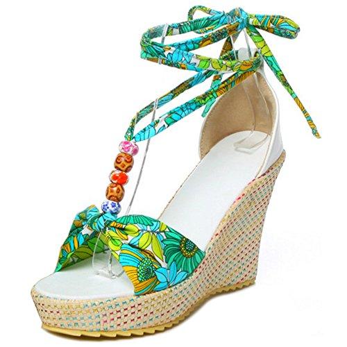 COOLCEPT Mujer Bohemia Cordones Sandalias Tacon Alto de Cuna Punta Abierta Zapatos Tamano Verde