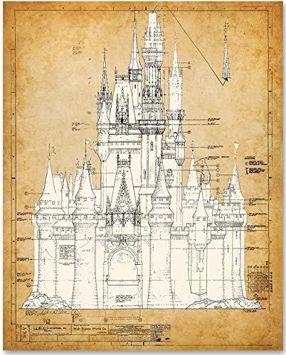 Cinderella's Castle - 11x14 Unframed Patent Print - Great Gift for Disney Fan -