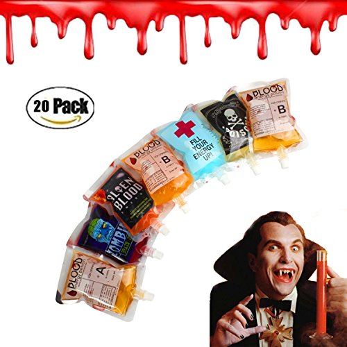 Halloween Party Drinking Blood Bag -AQUEOUS 250ML 8.5oz 20 Pack with Funnel Reusable Drink Container for