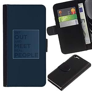 Protector de cuero de la PU de la cubierta del estilo de la carpeta del tirón BY RAYDREAMMM - Apple Iphone 6 - Salir y conocer a gente real
