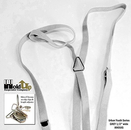 Urban Youth 1/2'' Hold-Up Suspender in X-back with No-slip Clips (Grey) by Hold-Up Suspender Co. (Image #3)