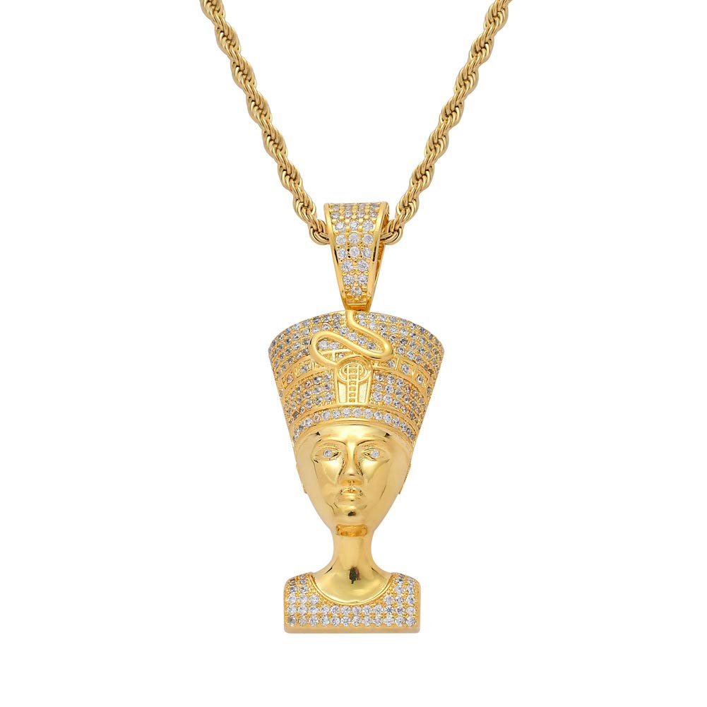 Moca Jewelry Iced Out Egyptian Pharaoh Pendant 18K Gold Plated Bling CZ Simulated Diamond Hip Hop Necklace for Men Women