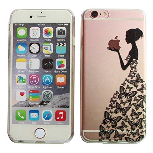 """Étui pour iPhone 6 iPhone 6S TPU, Ruirs Nice coloré d'impression ultra-transparent transparent TPU téléphone étui pour iPhone 6 / 6S 4.7""""(Noir Papillon fille)"""