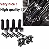 CNC Motorcycle Parts Set of Pushrod Cover and Lifter Block Cover for Harley 1999-2017 Twin Cam Models
