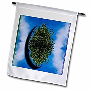 Jos Fauxtographee Abstract - An Oval cut out of the Sky with debth and Green Shrubs - 18 x 27 inch Garden Flag (fl_39175_2)