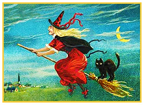 Orenco Originals Flying Witch, Broom, Black Cat Halloween Counted Cross Stitch Pattern