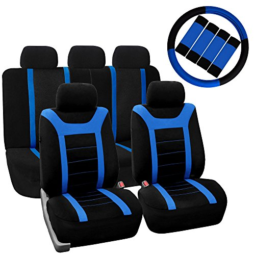 high back bucket seat covers blue - 9