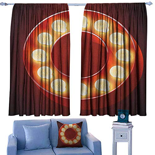 (Thermal/Room Darkening Window Curtains ,Letter O Entertainment World in Vegas Theme Vintage Casino Nightclub Theater Typeset,Thermal Insulated Light Blocking Drapes for Bedroom,W55x63L Inches Ruby Ye)