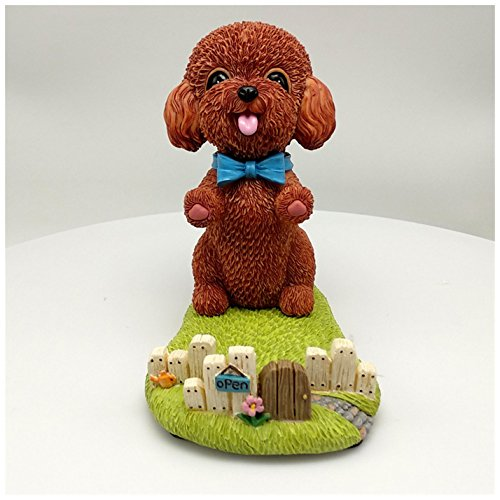 Ownstyle Resin Hand-Crafted Best Gifts Teddy Bear Figurine Collectible Tabletop Figurine Cell Phone Holder, Lazy Bracket Mobile Phone Stand Cute Dog Resin Desk Mini Ornament (Red brown)