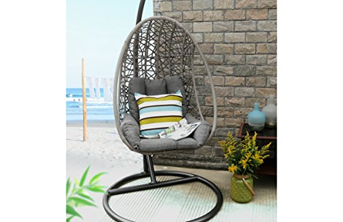 Baner Garden X25 Oval Egg Hanging Patio Lounge Chair Chaise Porch Swing Hammock Single Seat Stand Wicker with Cushion, Full, Black