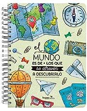 """HappyMots Libreta tapa dura A5:""""El mundo es de los que se atreven a descubrirlo"""" - Cuaderno tapa dura"""
