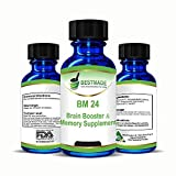 Brain Booster & Memory Supplement BM24, 30mL, Naturally Boost Brain Function, Improve Focus & Memory, Provide Clarity of Thought, Supports Learning Great for Exams, Reduce Stress, Caffeine Free