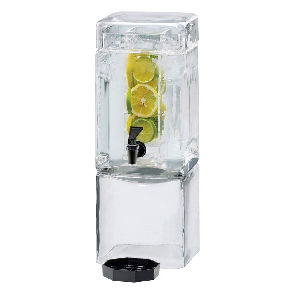 Cal Mil 1112-1AINF Square Glass Beverage Dispenser with Infusion Dispenser, 1.5 gal, 7.125