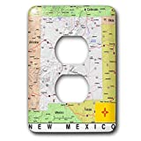 3dRose Lens Art by Florene - Topo Maps, Flags of States - Image of New Mexico Topographic Map With Flag - Light Switch Covers - 2 plug outlet cover (lsp_291415_6)