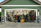 Jesus Nativity Scene Banners for 2 Car Garage Door Covers Outdoor 3D Effect Christmas Full Color House Billboard Garage Door Holiday Christmas Holy Night Decor Murals size 82x188 inches DAV216