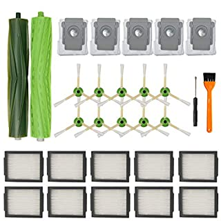 Smilyan Replacement Parts for iRobot Roomba i7 i7+/i7 Plus E5 E6 Vacuum, 1 Set of Multi-Surface Rubber Brush, 10 Pack HEPA Filters, 10 Pack Edge-Sweeping Brushes, 5 Pack Automatic Dirt Disposal Bags