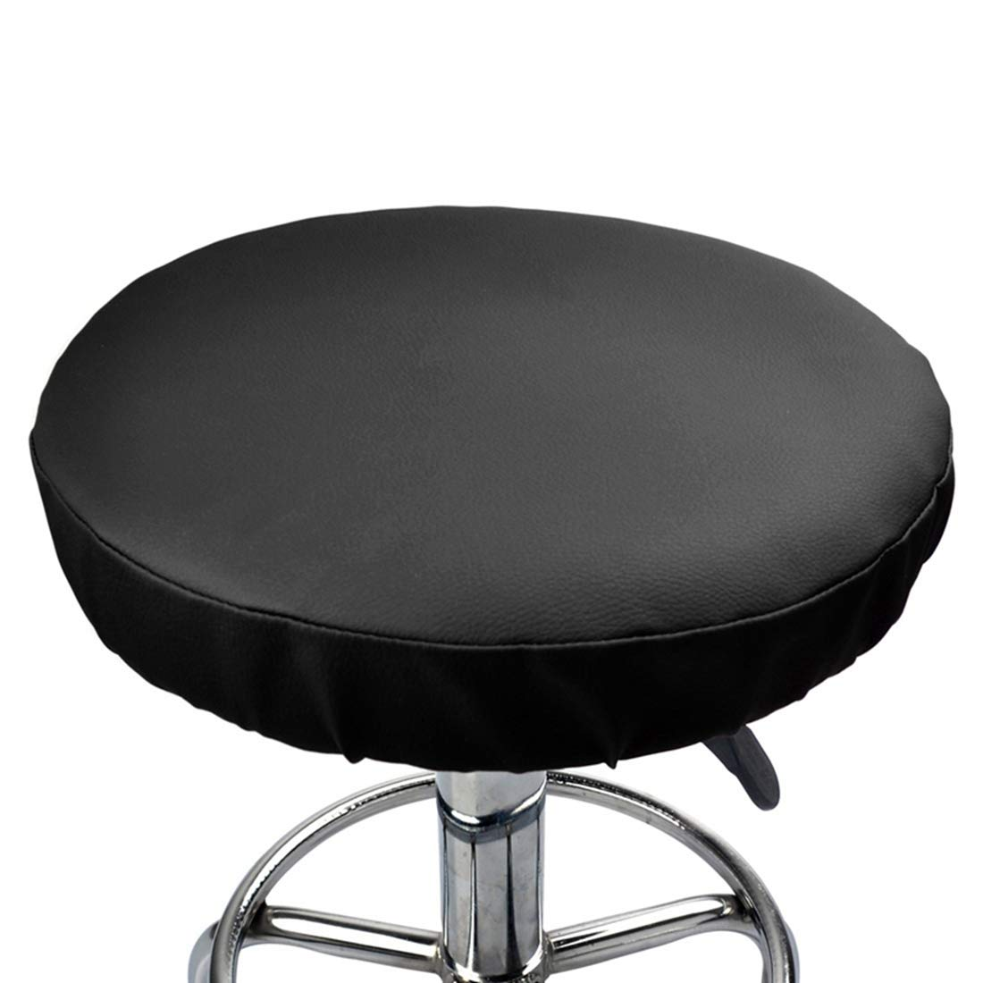 Enerhu Round Leather Soft Stool Cover Bar Stool Cover Cushion Chair Slipcover for Home Cafe Bookstore Restaurant Library Office Black 42cm/16.53inch