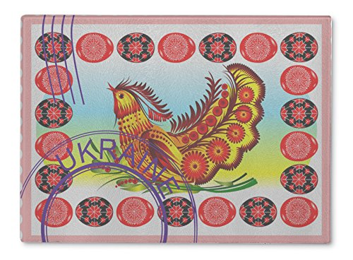 Gear New Glass Cutting Board and Serving Dish, Ukraine UKrainian Postage Stamp Postmark Folk Bird Folk Art Petr, For Kitchen and Dining, 15x11, 5800180GN