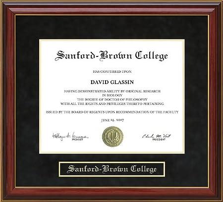 Amazon Com Wordyisms Sanford Brown College Diploma Frame Mahogany
