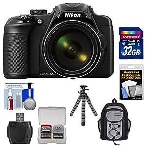 Nikon Coolpix P600 Wi-Fi Digital Camera (Black) with 32GB Card + Backpack Case + Flex Tripod + Accessory Kit