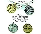 PlanetZia 8pcs 19mm Hammered Round with Inlaid Cross Charm for Jewelry Making TVT-RZ-50 (Antique Gold)
