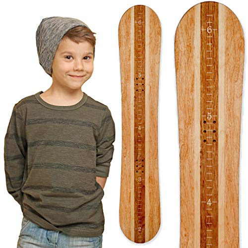 Snowboard Boot Chart - Growth Chart Art | Wooden Snowboard Height Chart for Kids, Boys, Girls for Measuring Height of Kids, Nursery Wall Decor | Baby Snowboard | Blonde