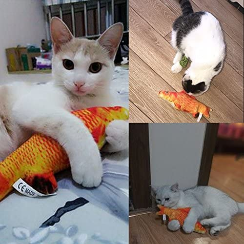 Coolfm Catnip Toys Set Simulation Fish Shape Doll Interactive Pets Pillow Chew Bite Supplies for Cat/Kitty/Kitten Fish Flop Cat Toy Catnip Crinkle Toys 3PCS (CAOY-3PCS) 8