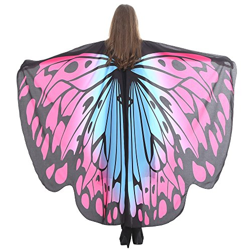 Women Butterfly Wings Shawl Scarves Ladies Nymph Pixie Poncho Costume Accessory Pretend Play Party Favor ICODOD(Hot Pink3)
