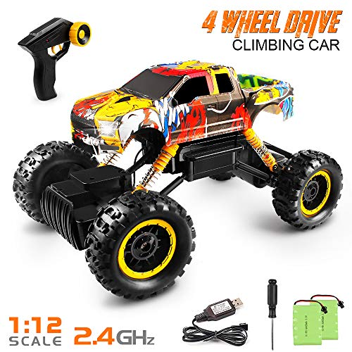 RC Cars,Tomons 1/12 Remote Control Car 4WD with 2 Rechargeable Batteries,2.4GHz Monster Truck for Boys