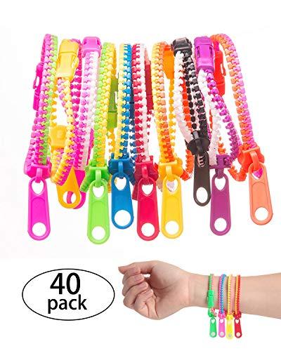 SBYURE 40 Pieces Friendship Fidget Zipper Bracelet Neon Colors Sensory Bracelet Bulk Set Party Toys for Students Kids Birthday,Goodie Bags,Small Prizes