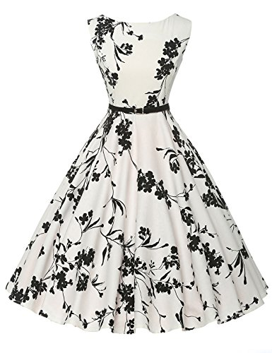 4145a3154d34 GRACE KARIN BoatNeck Sleeveless Vintage Tea Dress with Belt
