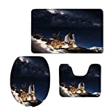 Fashion 3D Baseball Printed,Galaxy,Shuttle on Take Off Discovery Mission to Explore Galaxy Spaceship Solar Adventure,Blue White,U-Shaped Toilet Mat+Area Rug+Toilet Lid Covers 3PCS/Set
