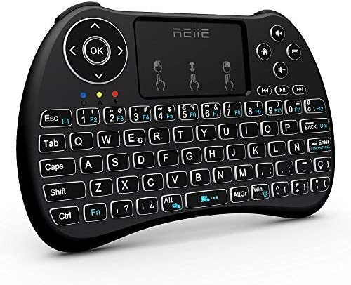 Reiie H9Plus Mini Touchpad Teclado Inalámbrico retroiluminado ,Color Negro QWERTY(tiene Ñ)