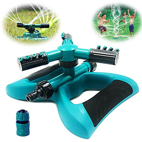 Buyplus Lawn Sprinkler - Automatic 360 Rotating Adjustable Garden Hose Watering Sprinkler for Kids, with 3600 SQ FT Coverage Lawn Irrigation System/Leak Free Durable 3 Arm Sprayers (1 pack) (Equipment Lawn Green)