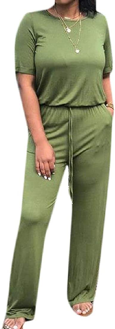 Wofupowga Womens Solid Color Tie-Waist Summer Bodysuit Short Sleeve Jumpsuit